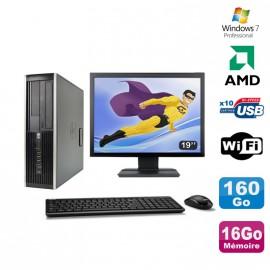 """Lot PC HP Compaq 6005 Pro SFF AMD 3GHz 16Go 160Go Graveur WIFI Win 7 Pro + 19"""""""