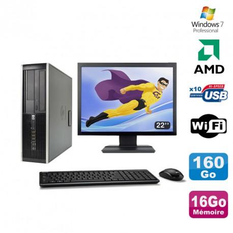 """Lot PC HP Compaq 6005 Pro SFF AMD 3GHz 16Go 160Go Graveur WIFI Win 7 Pro + 22"""""""