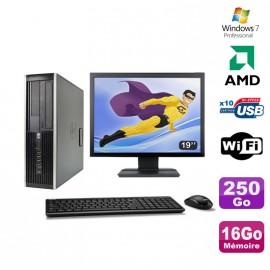 """Lot PC HP Compaq 6005 Pro SFF AMD 3GHz 16Go 250Go Graveur WIFI Win 7 Pro + 19"""""""