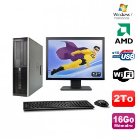 "Lot PC HP Compaq 6005 Pro SFF AMD 3GHz 16Go 2To Graveur WIFI Win 7 Pro + 17"""