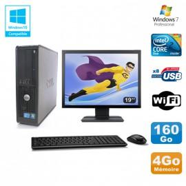 """Lot PC DELL Optiplex 780 Sff E8400 3Ghz 4Go DDR3 160Go WIFI Win 7 Pro + 19"""""""