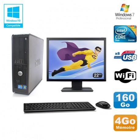 """Lot PC DELL Optiplex 780 Sff E8400 3Ghz 4Go DDR3 160Go WIFI Win 7 Pro + 22"""""""
