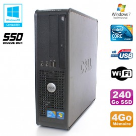 PC DELL Optiplex 780 Sff Core 2 Duo E8400 3Ghz 4Go DDR3 240Go SSD WIFI Win 7 Pro