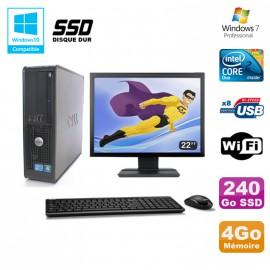 """Lot PC DELL Optiplex 780 Sff E8400 3Ghz 4Go DDR3 240Go SSD WIFI Win 7 Pro + 22"""""""