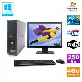 """Lot PC DELL Optiplex 780 Sff E8400 3Ghz 4Go DDR3 250Go WIFI Win 7 Pro + 17"""""""