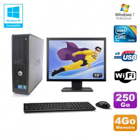 """Lot PC DELL Optiplex 780 Sff E8400 3Ghz 4Go DDR3 250Go WIFI Win 7 Pro + 19"""""""