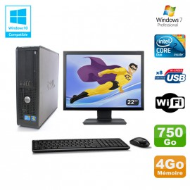 """Lot PC DELL Optiplex 780 Sff E8400 3Ghz 4Go DDR3 750Go WIFI Win 7 Pro + 22"""""""