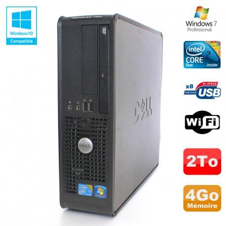 PC DELL Optiplex 780 Sff Core 2 Duo E8400 3Ghz 4Go DDR3 2To WIFI Win 7 Pro