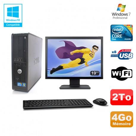 """Lot PC DELL Optiplex 780 Sff E8400 3Ghz 4Go DDR3 2To WIFI Win 7 Pro + 19"""""""