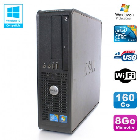 PC DELL Optiplex 780 Sff Core 2 Duo E8400 3Ghz 8Go DDR3 160Go WIFI Win 7 Pro