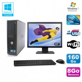 """Lot PC DELL Optiplex 780 Sff E8400 3Ghz 8Go DDR3 160Go WIFI Win 7 Pro + 22"""""""