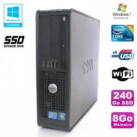 PC DELL Optiplex 780 Sff Core 2 Duo E8400 3Ghz 8Go DDR3 240Go SSD WIFI Win 7 Pro