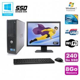 """Lot PC DELL Optiplex 780 Sff E8400 3Ghz 8Go DDR3 240Go SSD WIFI Win 7 Pro + 22"""""""