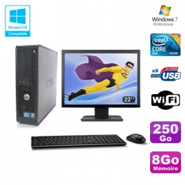 """Lot PC DELL Optiplex 780 Sff E8400 3Ghz 8Go DDR3 250Go WIFI Win 7 Pro + 22"""""""