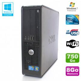 PC DELL Optiplex 780 Sff Core 2 Duo E8400 3Ghz 8Go DDR3 750Go WIFI Win 7 Pro
