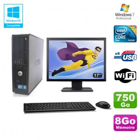 """Lot PC DELL Optiplex 780 Sff E8400 3Ghz 8Go DDR3 750Go WIFI Win 7 Pro + 17"""""""