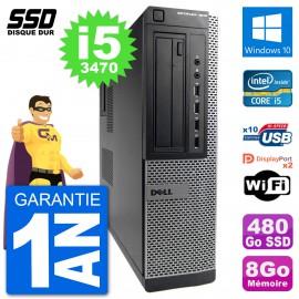 PC Dell OptiPlex 7010 DT Intel Core i5-3470 RAM 8Go SSD 480Go Windows 10 Wifi