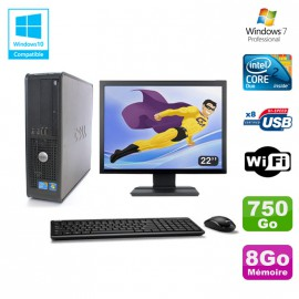 """Lot PC DELL Optiplex 780 Sff E8400 3Ghz 8Go DDR3 750Go WIFI Win 7 Pro + 22"""""""