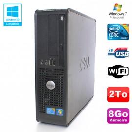 PC DELL Optiplex 780 Sff Core 2 Duo E8400 3Ghz 8Go DDR3 2To WIFI Win 7 Pro