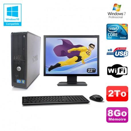 """Lot PC DELL Optiplex 780 Sff E8400 3Ghz 8Go DDR3 2To WIFI Win 7 Pro + 22"""""""