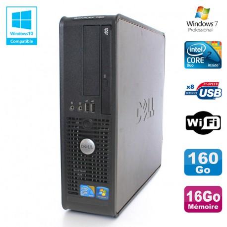 PC DELL Optiplex 780 Sff Core 2 Duo E8400 3Ghz 16Go DDR3 160Go WIFI Win 7 Pro