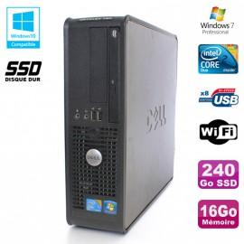PC DELL Optiplex 780 Sff Core 2 Duo E8400 3Ghz 16Go DDR3 240Go SSD WIFI W7 Pro