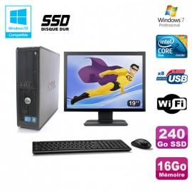"""Lot PC DELL Optiplex 780 Sff E8400 3Ghz 16Go DDR3 240Go SSD WIFI Win 7 Pro + 19"""""""