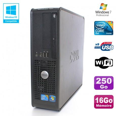 PC DELL Optiplex 780 Sff Core 2 Duo E8400 3Ghz 16Go DDR3 250Go WIFI Win 7 Pro