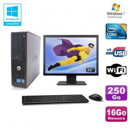 """Lot PC DELL Optiplex 780 Sff E8400 3Ghz 16Go DDR3 250Go WIFI Win 7 Pro + 22"""""""