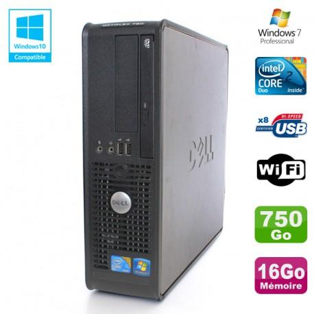 PC DELL Optiplex 780 Sff Core 2 Duo E8400 3Ghz 16Go DDR3 750Go WIFI Win 7 Pro