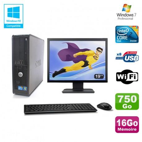 """Lot PC DELL Optiplex 780 Sff E8400 3Ghz 16Go DDR3 750Go WIFI Win 7 Pro + 19"""""""