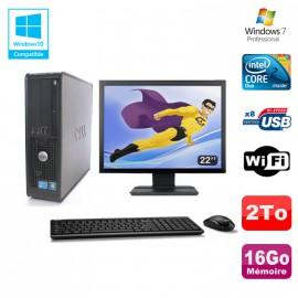 """Lot PC DELL Optiplex 780 Sff E8400 3Ghz 16Go DDR3 2To WIFI Win 7 Pro + 22"""""""