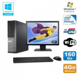 Lot PC DELL Optiplex 390 DT G630 2.7Ghz 4Go 160Go Graveur WIFI W7 Pro + Ecran 22