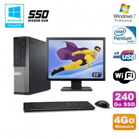 """Lot PC DELL Optiplex 390 DT G630 2.7Ghz 4Go 240Go SSD Graveur WIFI W7 Pro + 22"""""""