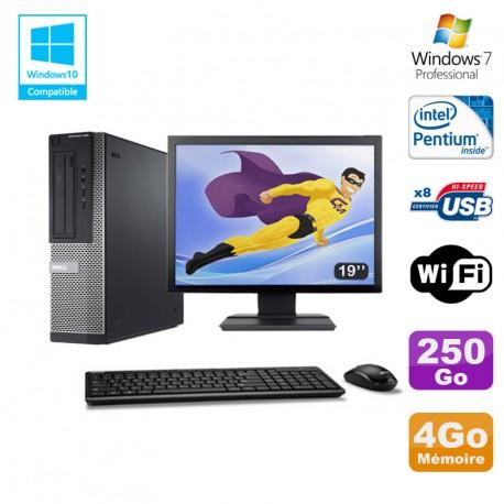 Lot PC DELL Optiplex 390 DT G630 2.7Ghz 4Go 250Go Graveur WIFI W7 Pro + Ecran 19
