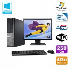 Lot PC DELL Optiplex 390 DT G630 2.7Ghz 4Go 250Go Graveur WIFI W7 Pro + Ecran 22