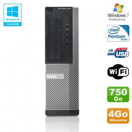 PC DELL Optiplex 390 DT G630 2.7Ghz 4Go 750Go Graveur DVD WIFI HDMI Win 7 Pro