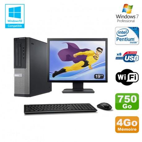 Lot PC DELL Optiplex 390 DT G630 2.7Ghz 4Go 750Go Graveur WIFI W7 Pro + Ecran 19
