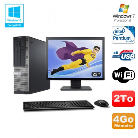 Lot PC DELL Optiplex 390 DT G630 2.7Ghz 4Go 2To Graveur WIFI W7 Pro + Ecran 22