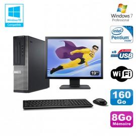 Lot PC DELL Optiplex 390 DT G630 2.7Ghz 8Go 160Go Graveur WIFI W7 Pro + Ecran 19
