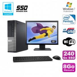 """Lot PC DELL Optiplex 390 DT G360 2.7Ghz 8Go 240Go SSD Graveur WIFI W7 Pro + 19"""""""