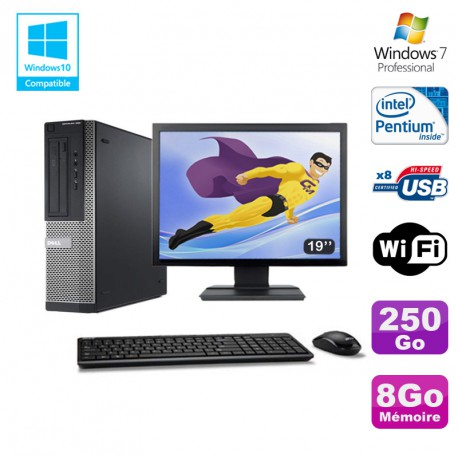 Lot PC DELL Optiplex 390 DT G630 2 7Ghz 8Go 250Go Graveur WIFI W7 Pro +  Ecran 19 - MonsieurCyberMan