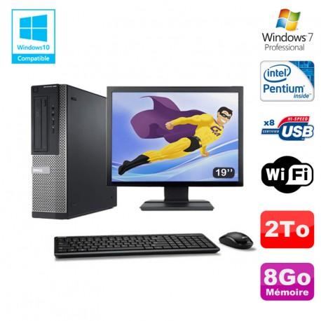 Lot PC DELL Optiplex 390 DT G630 2.7Ghz 8Go 2To Graveur WIFI W7 Pro + Ecran 19