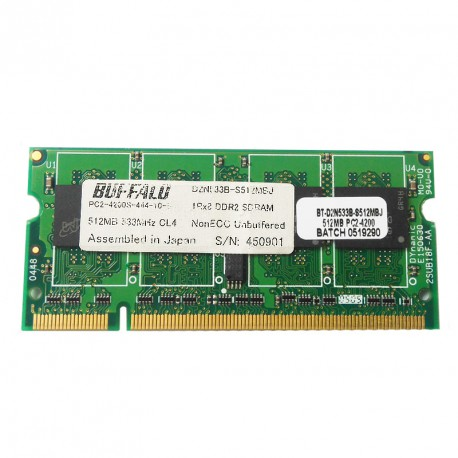 512Mo RAM PC Portable SODIMM BUFFALO D2N533B-S512MBJ DDR2 PC2-4200S 533MHz CL4