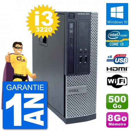 PC Dell OptiPlex 3010 SFF i3-3220 RAM 8Go Disque Dur 500Go HDMI Windows 10 Wifi