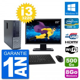 """PC Dell 3010 SFF Ecran 22"""" i3-3220 RAM 8Go Disque Dur 500Go HDMI Windows 10 Wifi"""