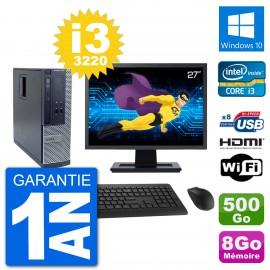 """PC Dell 3010 SFF Ecran 27"""" i3-3220 RAM 8Go Disque Dur 500Go HDMI Windows 10 Wifi"""