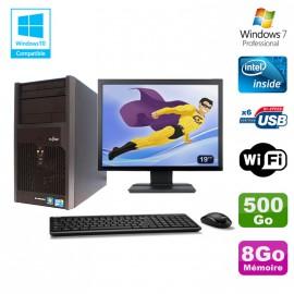 """Lot PC Tour Fujitsu Esprimo P2560 Intel E5500 8Go 500Go Graveur WIFI W7 + 19"""""""