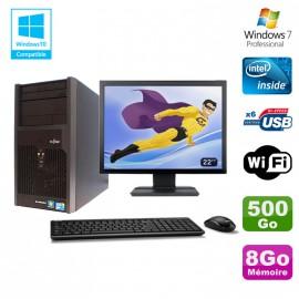 """Lot PC Tour Fujitsu Esprimo P2560 Intel E5500 8Go 500Go Graveur WIFI W7 + 22"""""""