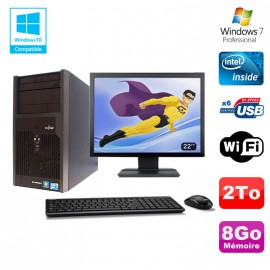"Lot PC Tour Fujitsu Esprimo P2560 Intel E5500 8Go 2To Graveur WIFI W7 + 22"""